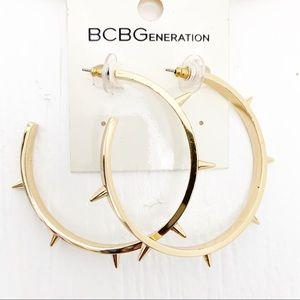 BCBGeneration EARRINGS LOOP HOOP SPIKE GOLD TONED